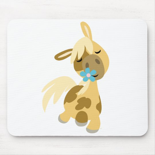 Blue Flower and  Pony mousepad