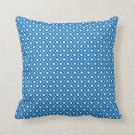 Blue Flower Argyle Pattern Cotton Pillow 2