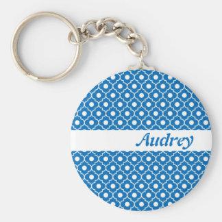 Blue Flower Argyle Pattern Keychain