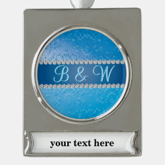 Blue Flower Art Deco Anniversary Monograms Silver Plated Banner Ornament