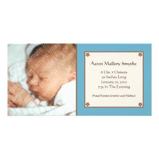 Blue Flower Baby Photo Card