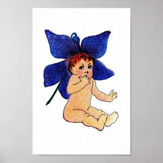 Blue Flower Baby Poster