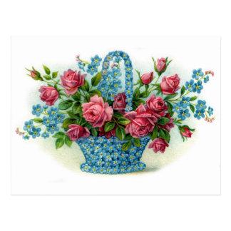 Blue Flower Basket Postcard