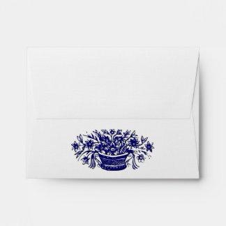 Blue Flower Basket Woodcut Custom Address Envelope