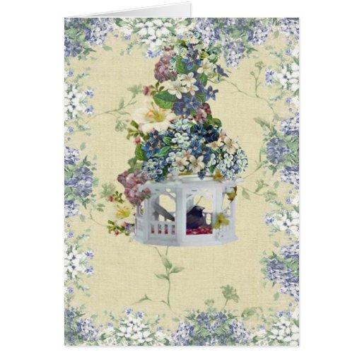 Blue Flower Birdhouse Card