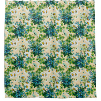 Blue Flower Bouquets with Daisies and Clover Shower Curtain