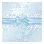 "Blue Flower & Bow Sweet 16 Invite 5.25"" Square Invitation Card"