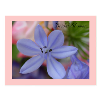 Blue flower Bridal Shower Postcard