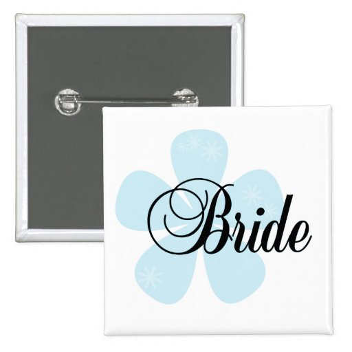 Blue Flower Bride Tshirts and Gifts Pin