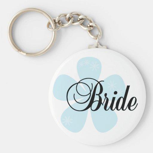 Blue Flower Bride Tshirts and Gifts Basic Round Button Keychain