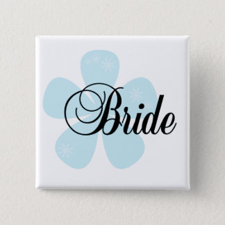 Blue Flower Bride Tshirts and Gifts Pinback Button