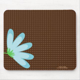 Blue Flower Brown Dots Mousepad