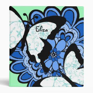 Blue Flower Butterfly Binder