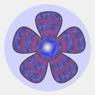 blue flower classic round sticker