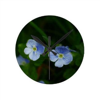 Blue Flower Round Wallclocks
