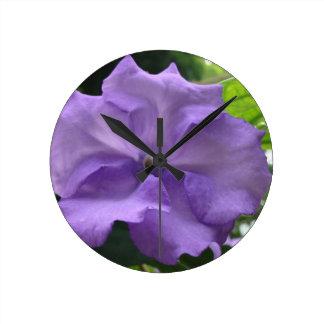 Blue Flower Round Wall Clocks