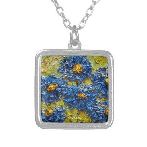 Blue Flower Cluster Art Necklace