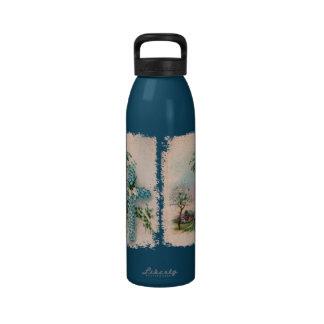 Blue Flower Cross Christian Liberty Bottle Reusable Water Bottle