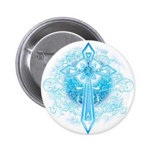Blue Flower Cross Pinback Button
