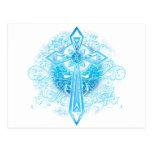 Blue Flower Cross Postcards