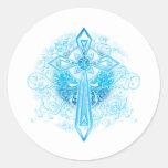 Blue Flower Cross Round Sticker