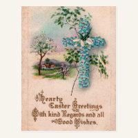 Blue Flower Cross Vintage Easter Postcard