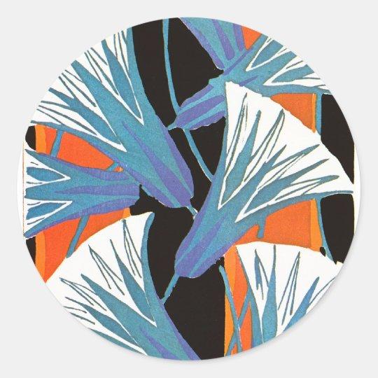 Blue Flower Deco Classic Round Sticker