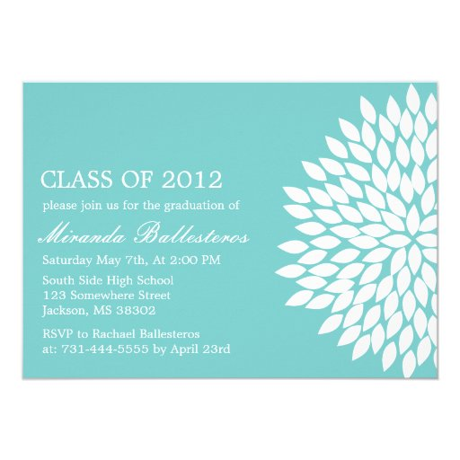 Blue Flower Design Graduation Announcements