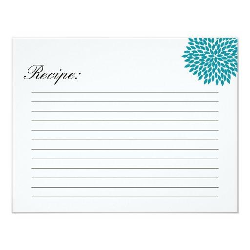 Blue Flower Design Recipe Cards Personalized Invitations