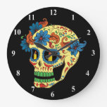 Blue Flower Eyes Day Of The Dead Sugar Skull Large Clock at Zazzle