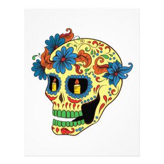 Blue Flower Eyes Day Of The Dead Sugar Skull Letterhead