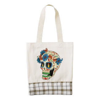 Blue Flower Eyes Day Of The Dead Sugar Skull Zazzle HEART Tote Bag
