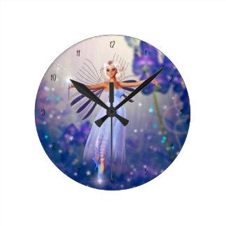 Blue Flower Fairy Round Clock