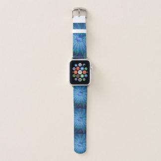 Blue Flower Fantasy Pattern, Abstract Fractal Art Apple Watch Band