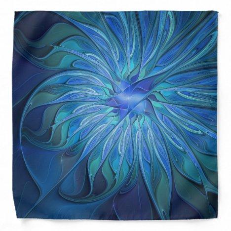 Blue Flower Fantasy Pattern, Abstract Fractal Art Bandana