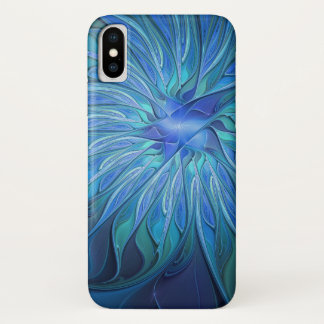 Blue Flower Fantasy Pattern, Abstract Fractal Art iPhone X Case