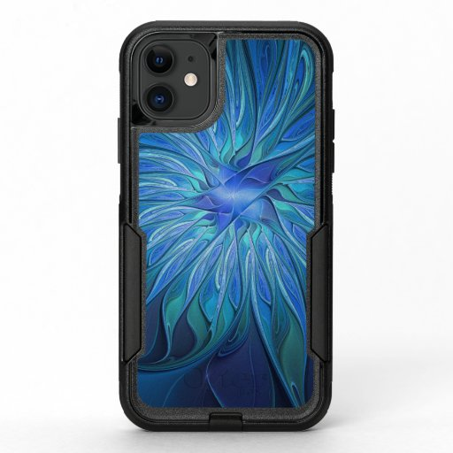 Blue Flower Fantasy Pattern, Abstract Fractal Art OtterBox Commuter iPhone 11 Case