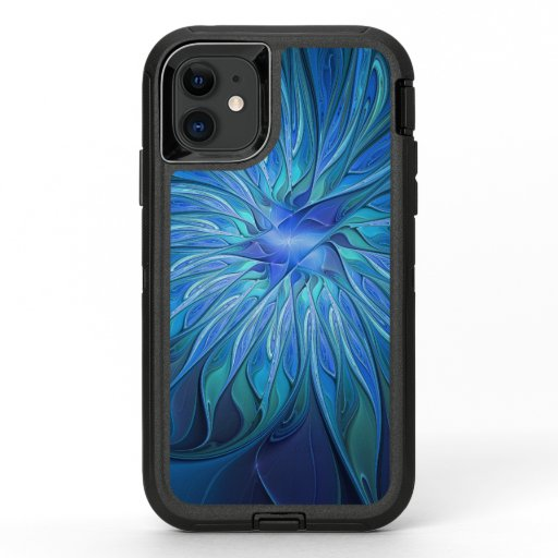 Blue Flower Fantasy Pattern, Abstract Fractal Art OtterBox Defender iPhone 11 Case