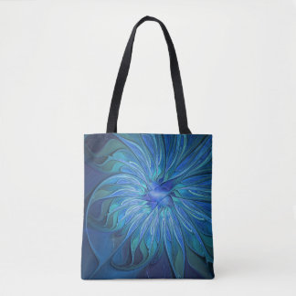 Blue Flower Fantasy Pattern, Abstract Fractal Art Tote Bag