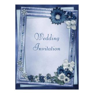 Blue Flower Frame Winter Linen Wedding Invites