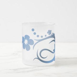 Blue Flower Frosted Glass Mug