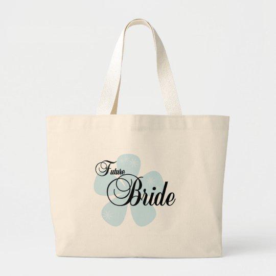 Blue Flower Future Bride Large Tote Bag