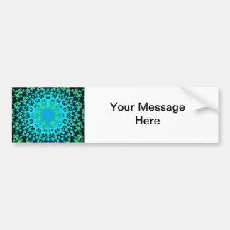 Blue flower geometric fractal mandala design bumper sticker