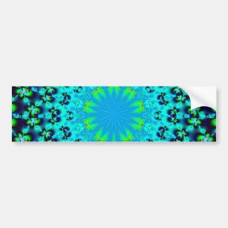 Blue flower geometric fractal mandala design bumper stickers