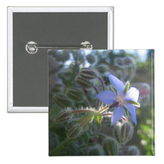 Blue Flower Haze 2 Inch Square Button
