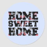 blue flower home sweet home design classic round sticker