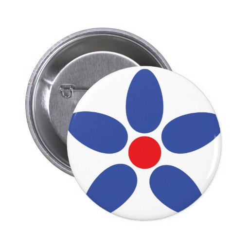 blue flower icon pinback buttons