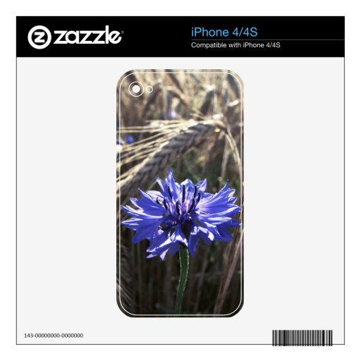 Blue Flower in Grain Decals For iPhone 4S