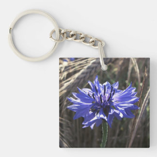 Blue Flower in Grain Keychain