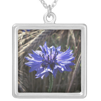 Blue Flower in Grain Square Pendant Necklace